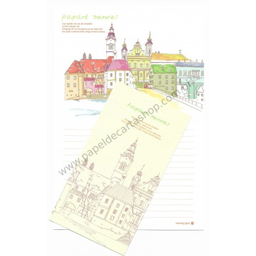 Conjunto de Papel de Carta Importado Fragrant Memories - Morning Glory