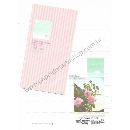Conjunto de Papel de Carta Importado I Love You - Morning Glory