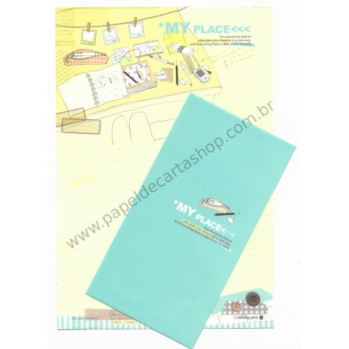 Conjunto de Papel de Carta Importado My Place - Morning Glory