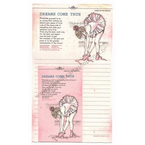 Conjunto de Papel de Carta Importado Beautiful Ballerina Girl - YM
