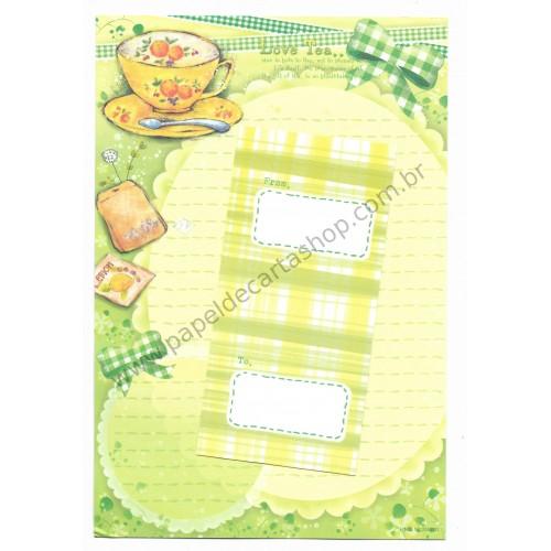 Conjunto de Papel de Carta Importado Love Tea - i-Neu