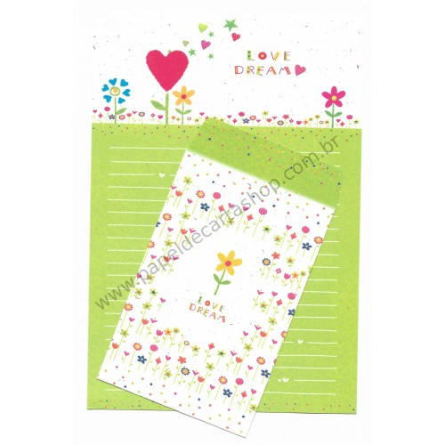 Conjunto de Papel de Carta Importado Love Dream - NL