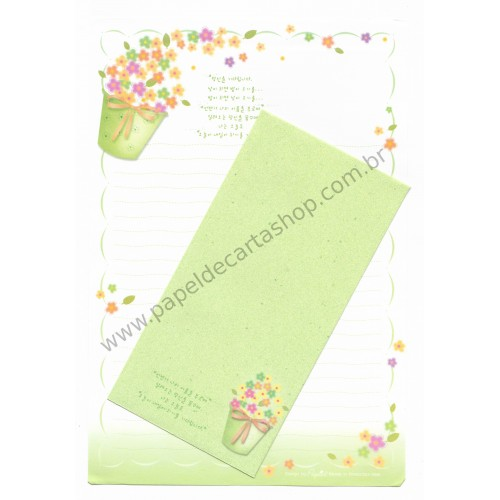 Conjunto de Papel de Carta Importado Flowers - Papier
