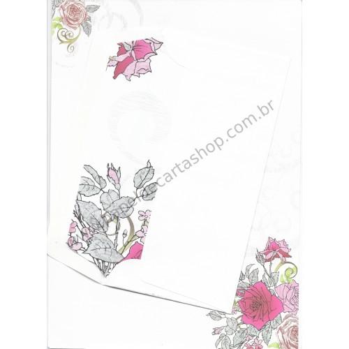 Conjunto de Papel de Carta Antigo (Vintage) Flores A4 - RÖSSLER PAPIER