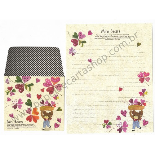 Kit 3 Conjuntos de Papel de Carta com Envelope Importado Art-Box
