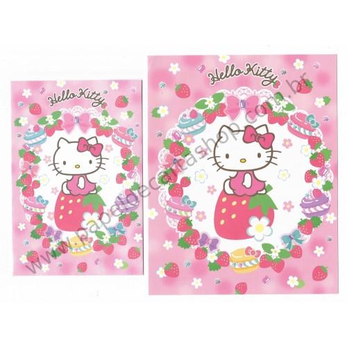 Ano 2013. Conjunto de Papel de Carta Hello Kitty Cupcakes Sanrio