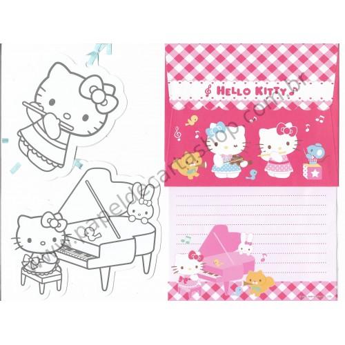 Ano 2009. Conjunto de Papel de Carta Hello Kitty Piano Sanrio