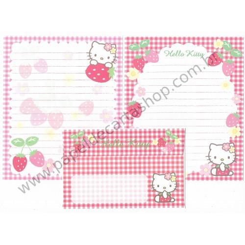 Ano 2007. Conjunto de Papel de Carta Hello Kitty Morangos Sanrio