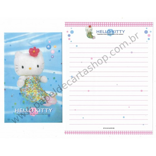 Ano 1998. Conjunto de Papel de Carta Hello Kitty Mermaid Antigo (Vintage) Sanrio