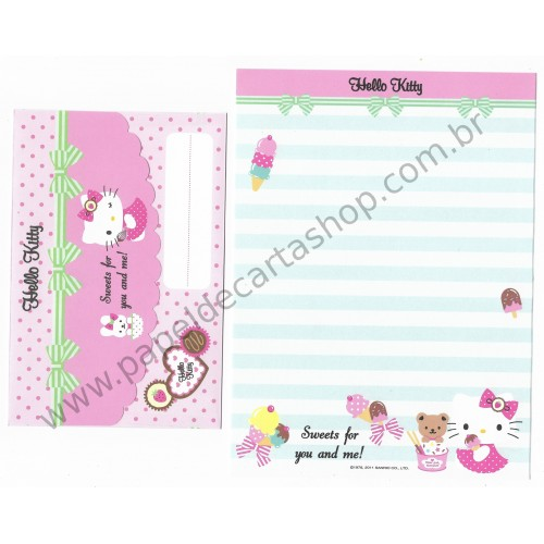 Ano 2011. Conjunto de Papel de Carta Hello Kitty FTM3 Sanrio