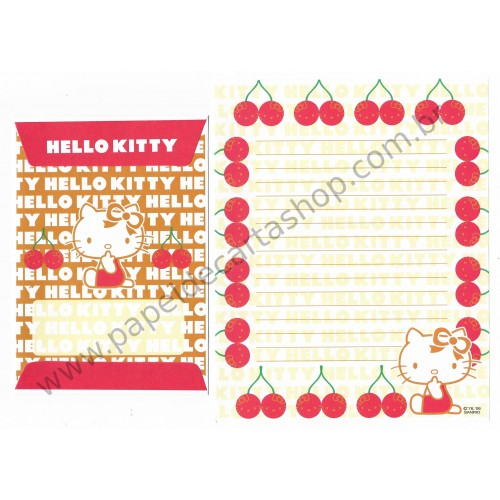 Ano 2006. Conjunto de Papel de Carta Hello Kitty Cherry CVM - Sanrio