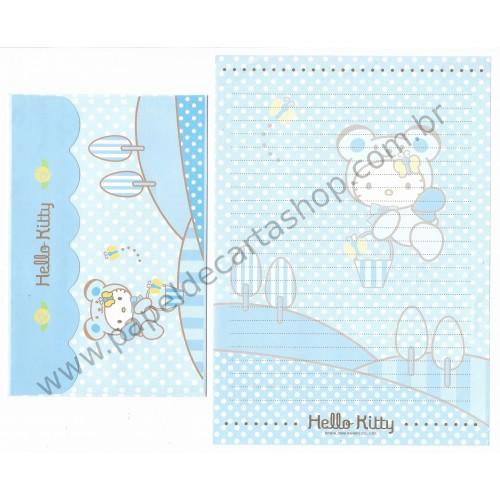 Ano 2006. Conjunto de Papel de Carta Hello Kitty Bear CAZ - Sanrio