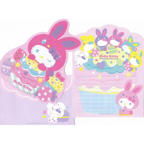 Ano 2012. Conjunto de Papel de Carta Hello Kitty Colorful Bunny Dupla Sanrio