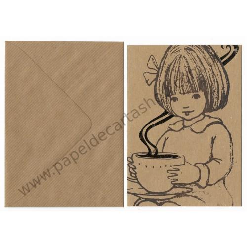 Cartão Postal com Envelope Tea - Belle & Boo