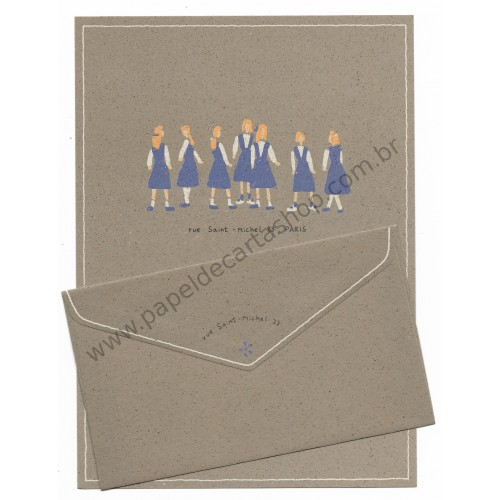 Conjunto de Papel de Carta Antigo (Vintage) Paris - Gakken