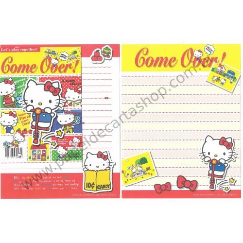 Ano 2013. Conjuntos de Papel de Carta Hello Kitty Come Over Sanrio
