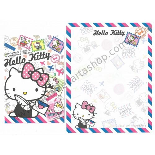 Ano 2014. Kit 2 Conjuntos de Papel de Carta Hello Kitty Little Girl Sanrio