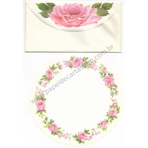 Conjunto de Papel de Carta Antigo Importado Round Rose Garden