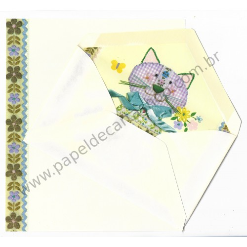 Conjunto de Papel de Carta Antigo Importado GATINHO - Hallmark