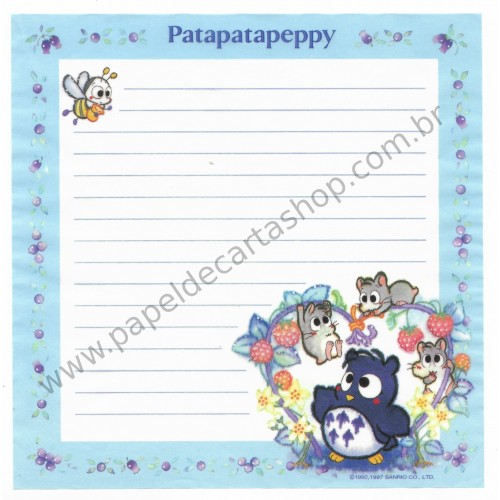 Ano 1997. Conjunto de Papel de Carta PataPataPeppy Vintage V Sanrio