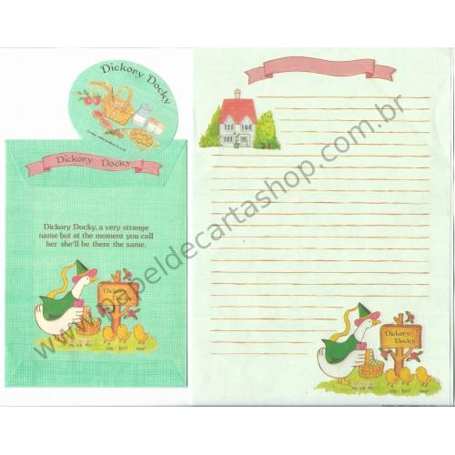 Ano 1985. Conjunto de Papel de Carta Antigo Vintage Dickory Docky - Sanrio