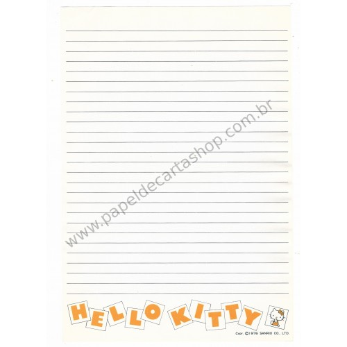 Ano 1976. Papel de Carta Avulso Hello Kitty Letter Paper Antigo (Vintage) Sanrio