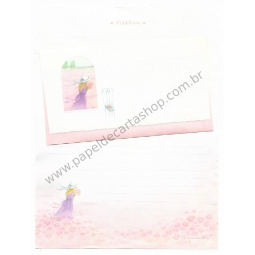 Ano 1976. Conjunto de Papel de Carta Vintage Floral Poem Lady Sanrio
