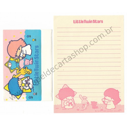 Ano 1983. Conjunto de Papel de Carta Little Twin Stars Antigo (Vintage) - Sanrio