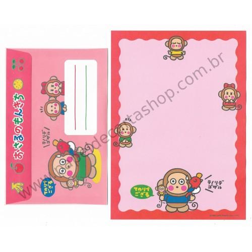 Ano 1995. Conjunto de Papel de Carta Osaru No Monkichi CVM Antigo (Vintage) Sanrio