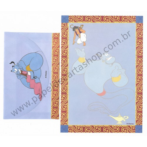 Conjunto de Papel de Carta ANTIGO Personagens Disney Aladdin CAZ