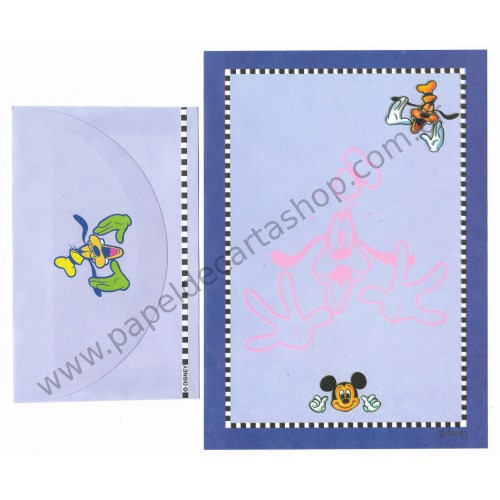 Conjunto de Papel de Carta ANTIGO Personagens Disney Pateta