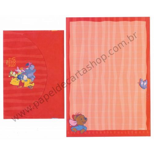 Conjunto de Papel de Carta ANTIGO Personagens Disney Pooh CVM