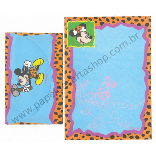Conjunto de Papel de Carta ANTIGO Personagens Disney Mickey & Minnie Pedra