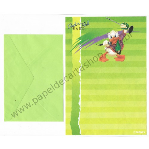Conjunto de Papel de Carta ANTIGO Personagens Disney Duck'n Roll Band CVD