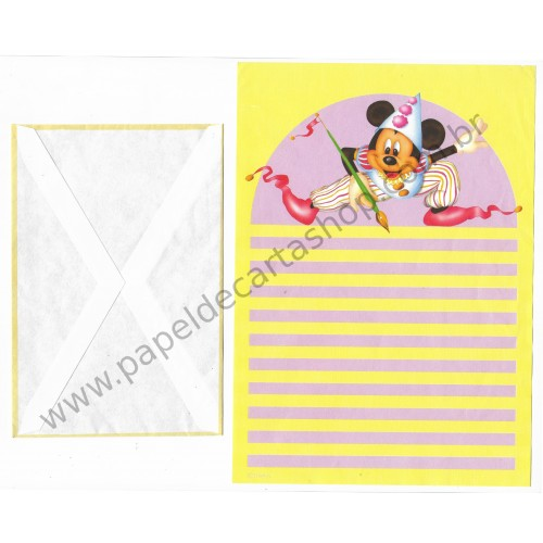 Conjunto de Papel de Carta ANTIGO Personagens Disney Mickey Pintor
