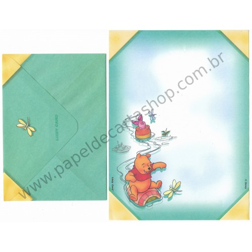 Conjunto de Papel de Carta ANTIGO Personagens Disney Pooh Lizzy Card