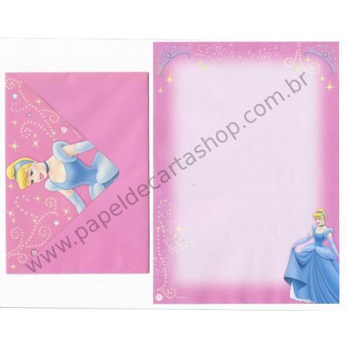 Conjunto de Papel de Carta ANTIGO Personagens Disney Princesas Cinderella