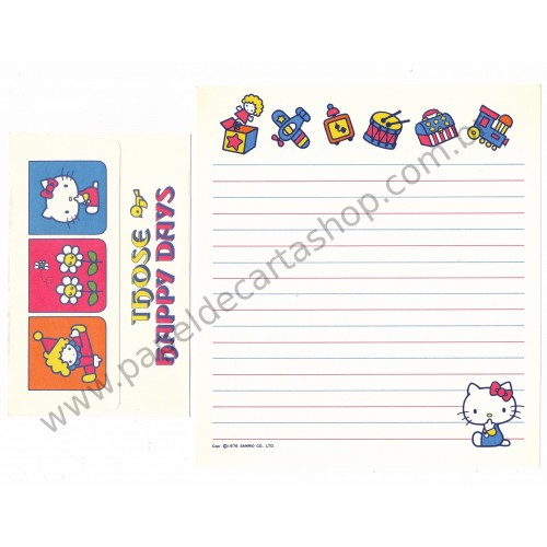 Ano 1976. Conjunto de Papel de Carta Hello Kitty Antigo (Vintage) Happy Days Sanrio