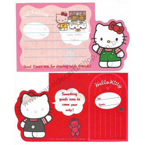 Ano 1994. Nota dobrável Hello Kitty Antigo (Vintage) Good Times Sanrio