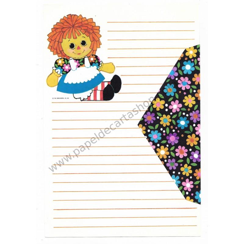 Ano 1969. Conjunto de Papel de Carta Importado Raggedy Ann - The Bobbs-Merrill Co