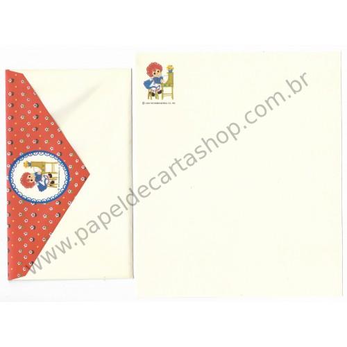 Ano 1976. Conjunto de Papel de Carta Importado Raggedy Ann - The Bobbs-Merrill Co