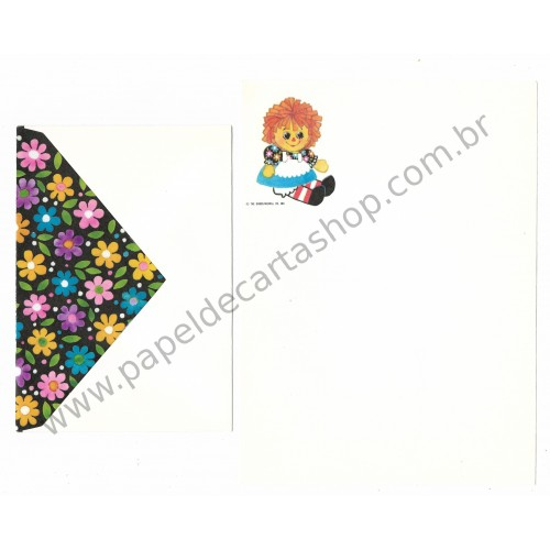 Conjunto de Papel de Carta Importado Raggedy Ann Médio - The Bobbs-Merrill Co