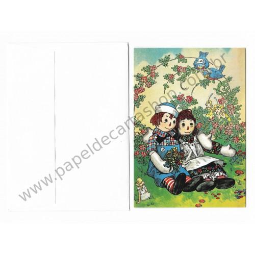 Cartão ANTIGO COM ENVELOPE Raggedy Ann & Andy