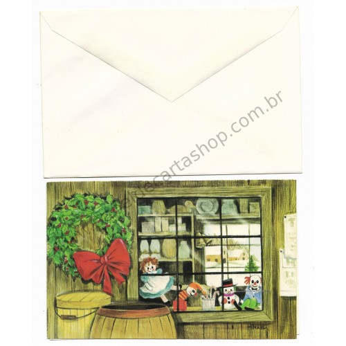 Cartão ANTIGO COM ENVELOPE Raggedy Ann