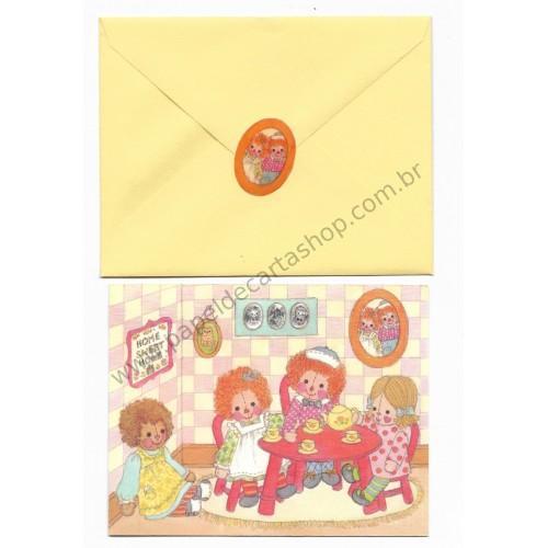 Ano 1973. Notecard Importado Raggedy Ann Home Sweet Home - Hallmark