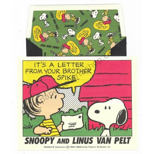 Conjunto de Papel de Carta Snoopy & Linus Van Pelt Antigo (Vintage) Peanuts