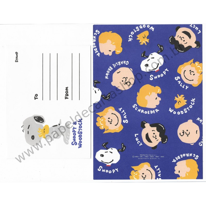Conjunto de Papel de Carta Antigo (Vintage) Peanuts Characters CAZ - Peanuts Hallmark Japan
