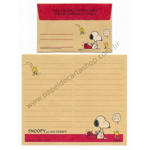 Conjunto de Papel de Carta SNOOPY CRAM Antigo (Vintage) Peanuts