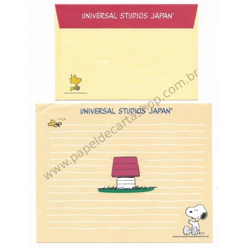 Conjunto de Papel de Carta Snoopy Universal Studios Japan Antigo (Vintage) Peanuts