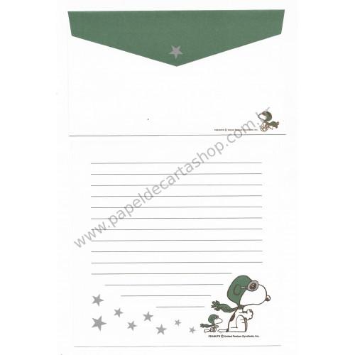 Conjunto de Papel de Carta Snoopy Ace CVD Antigo (Vintage) Peanuts